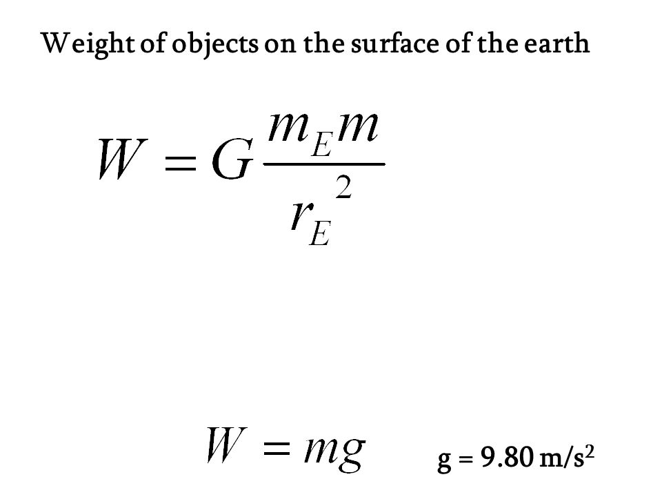 Weight of objects on the surface of the earth g = 9.80 m/s 2