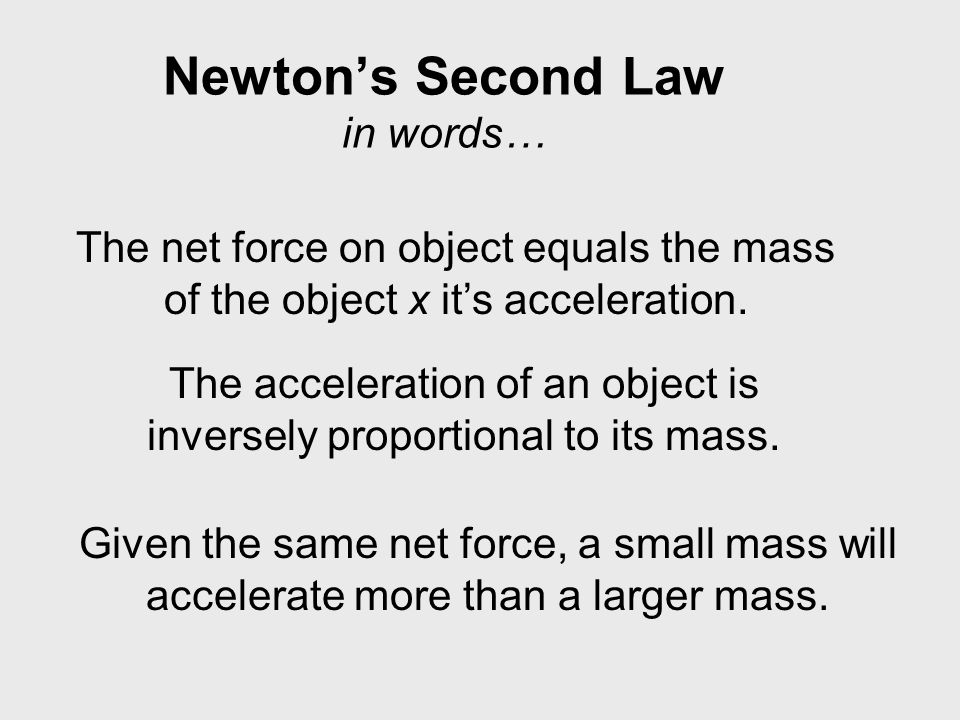 Newton's Second Law in words… The net force on object equals the mass of the object x it's acceleration.