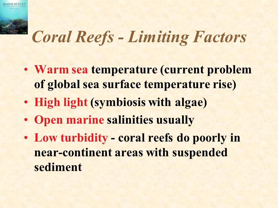 Coral Reefs - Limiting Factors Warm sea temperature (current problem of global sea surface temperature rise) High light (symbiosis with algae) Open marine salinities usually Low turbidity - coral reefs do poorly in near-continent areas with suspended sediment
