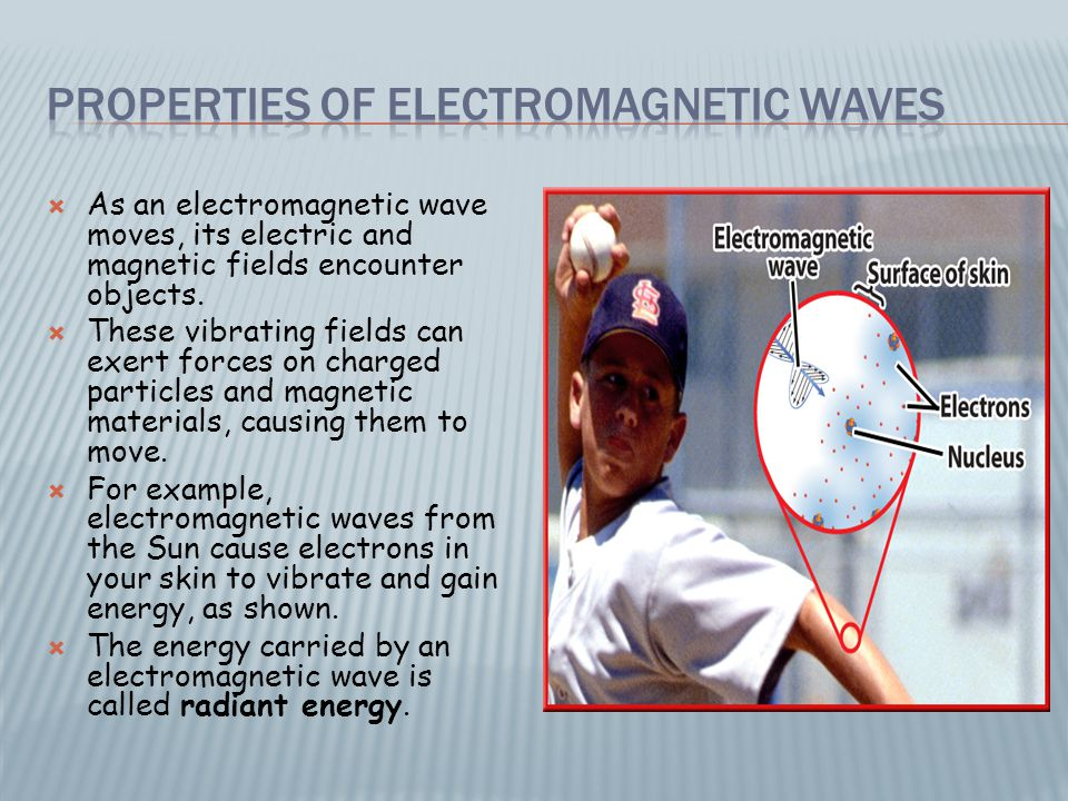 As an electromagnetic wave moves, its electric and magnetic fields encounter objects.  These vibrating fields can exert forces on charged particles