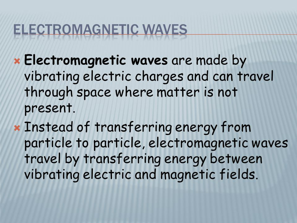  The wavelength of an electromagnetic wave is the distance from one crest to another.
