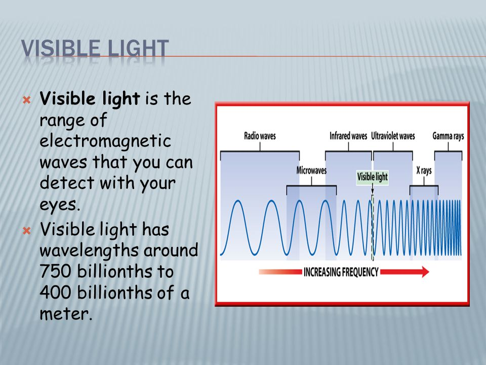  Visible light is the range of electromagnetic waves that you can detect with your eyes.  Visible light has wavelengths around 750 billionths to 400