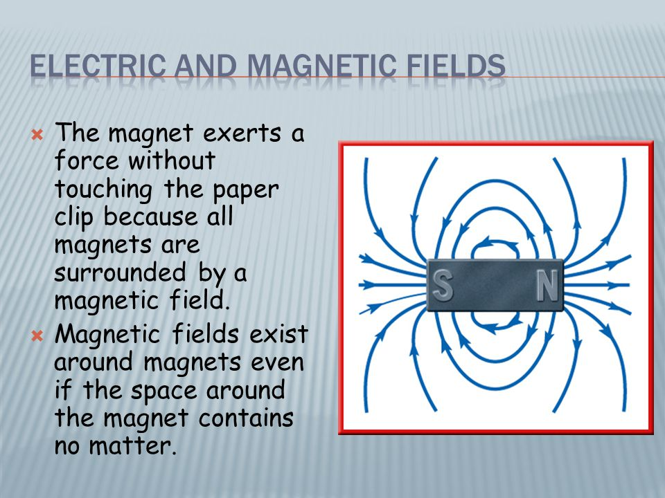  Just as magnets are surrounded by magnetic fields, electric charges are surrounded by electric fields.