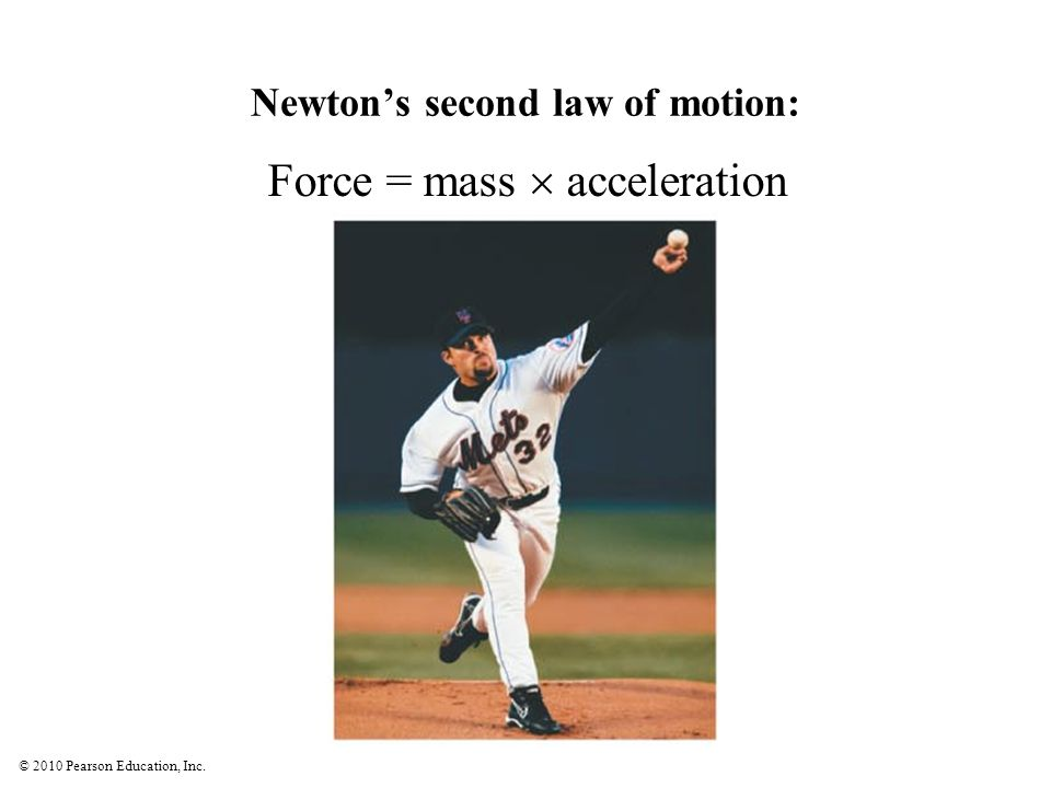 © 2010 Pearson Education, Inc. Newton's second law of motion: Force = mass  acceleration