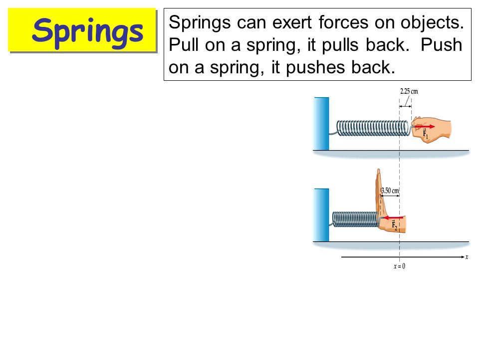 Springs Springs can exert forces on objects. Pull on a spring, it pulls back. Push on a spring, it pushes back.