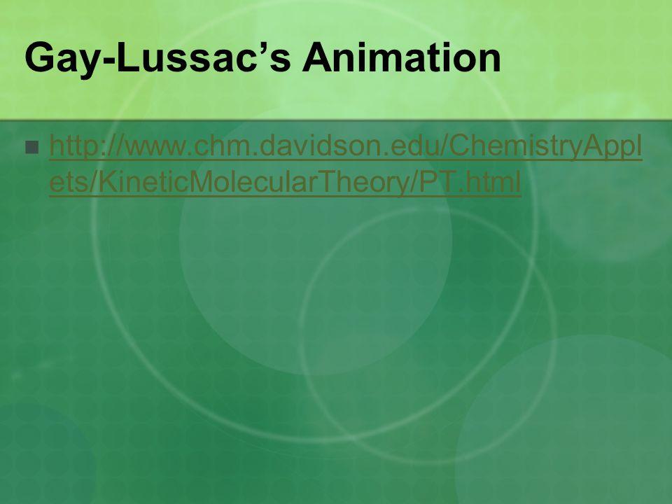 Gay-Lussac's Animation http://www.chm.davidson.edu/ChemistryAppl ets/KineticMolecularTheory/PT.html http://www.chm.davidson.edu/ChemistryAppl ets/KineticMolecularTheory/PT.html