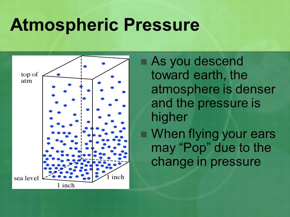 "Atmospheric Pressure As you descend toward earth, the atmosphere is denser and the pressure is higher When flying your ears may ""Pop"" due to the chang"