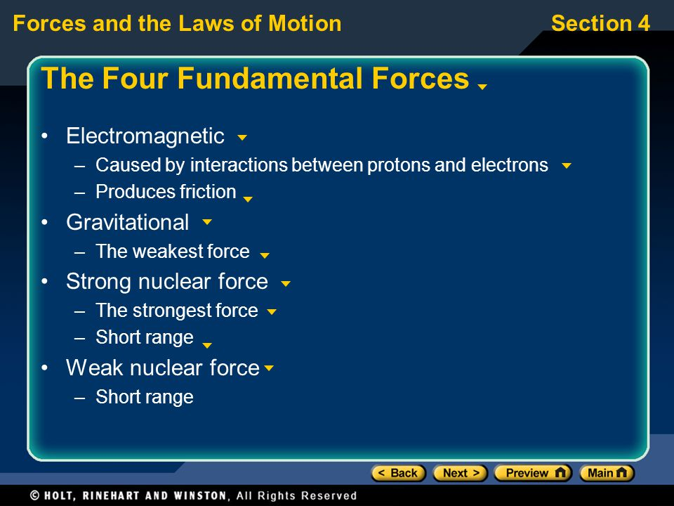 Forces and the Laws of MotionSection 4 The Four Fundamental Forces Electromagnetic –Caused by interactions between protons and electrons –Produces friction Gravitational –The weakest force Strong nuclear force –The strongest force –Short range Weak nuclear force –Short range