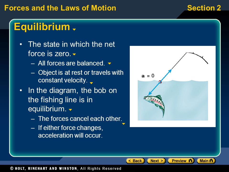 Section 2Forces and the Laws of Motion Equilibrium The state in which the net force is zero.