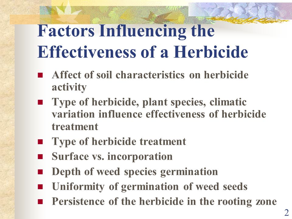 2 Factors Influencing the Effectiveness of a Herbicide Affect of soil characteristics on herbicide activity Type of herbicide, plant species, climatic