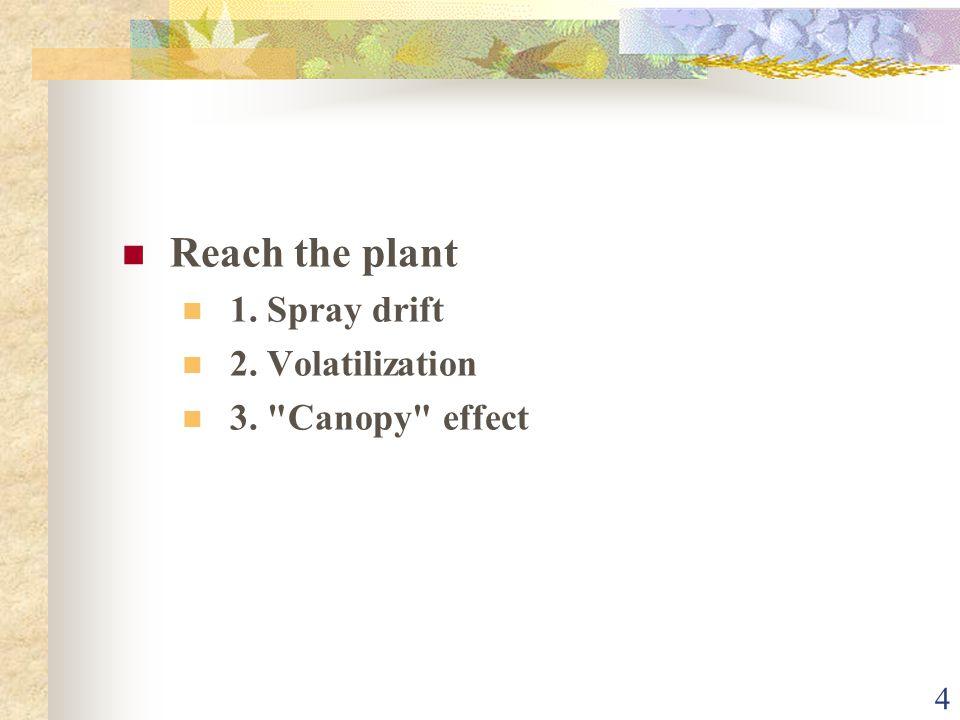 4 Reach the plant 1. Spray drift 2. Volatilization 3. Canopy effect