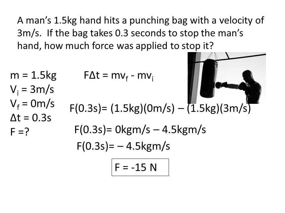 m = 1.5kg V i = 3m/s V f = 0m/s Δt = 0.3s F =.