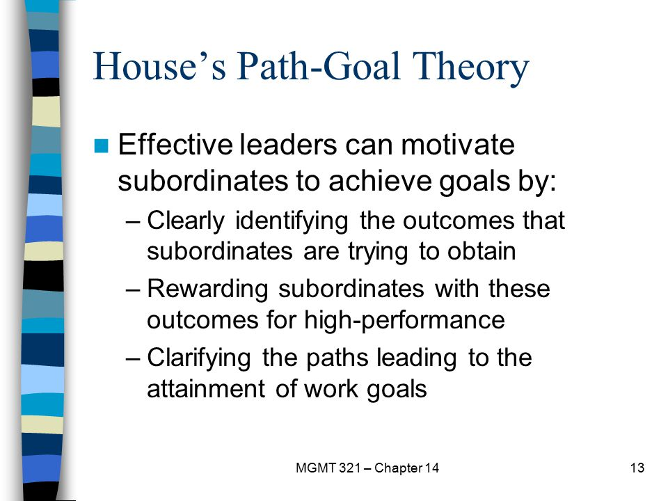 MGMT 321 – Chapter 1413 House's Path-Goal Theory Effective leaders can motivate subordinates to achieve goals by: –Clearly identifying the outcomes th