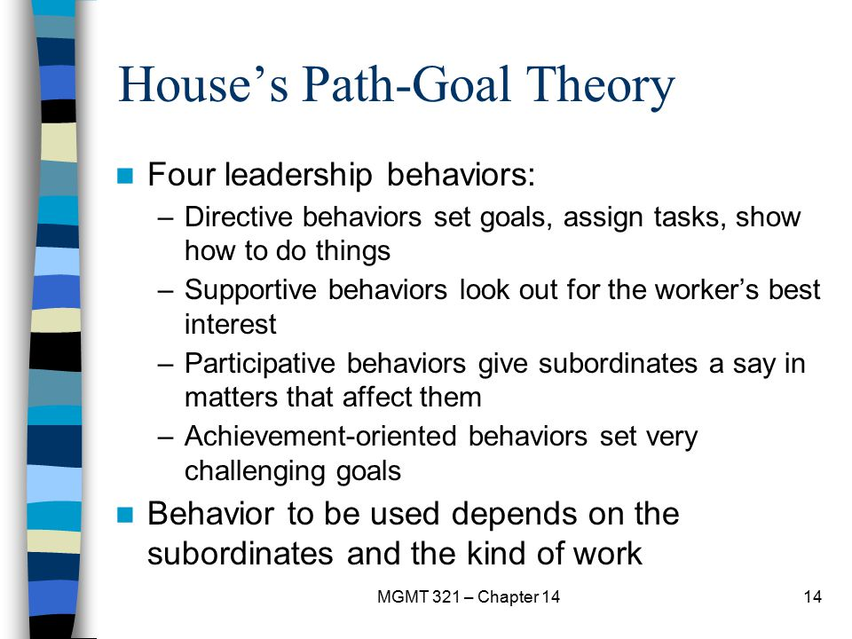 MGMT 321 – Chapter 1414 House's Path-Goal Theory Four leadership behaviors: –Directive behaviors set goals, assign tasks, show how to do things –Suppo