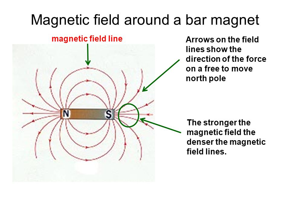 Magnetic field around a bar magnet magnetic field line Arrows on the field lines show the direction of the force on a free to move north pole The stro