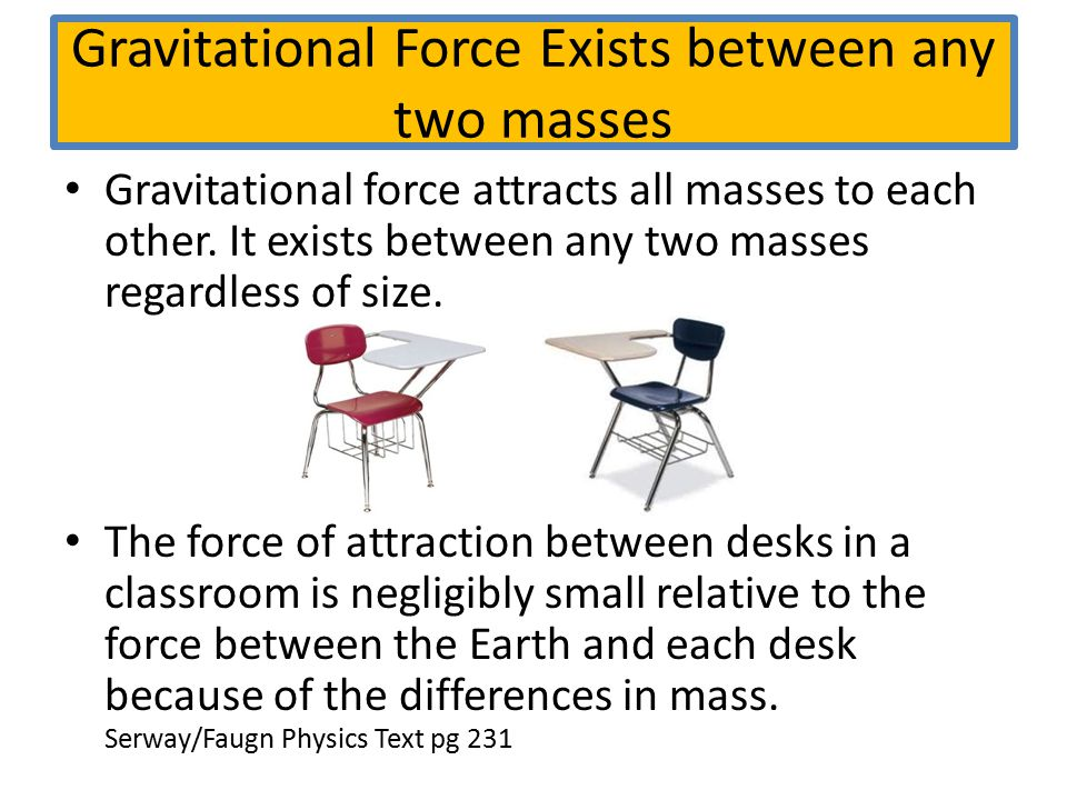 Gravitational Force Exists between any two masses Gravitational force attracts all masses to each other. It exists between any two masses regardless o
