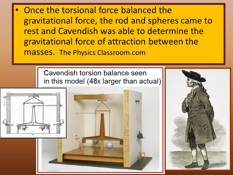 Once the torsional force balanced the gravitational force, the rod and spheres came to rest and Cavendish was able to determine the gravitational forc