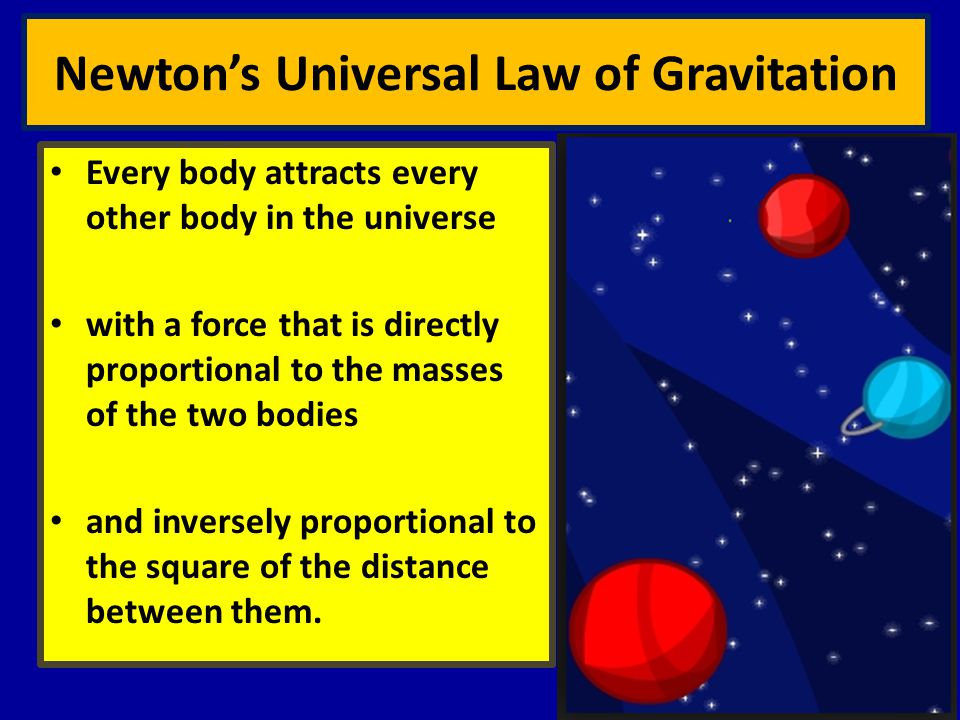 Newton's Universal Law of Gravitation Every body attracts every other body in the universe with a force that is directly proportional to the masses of