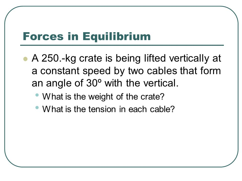 Forces in Equilibrium A 250.-kg crate is being lifted vertically at a constant speed by two cables that form an angle of 30º with the vertical.