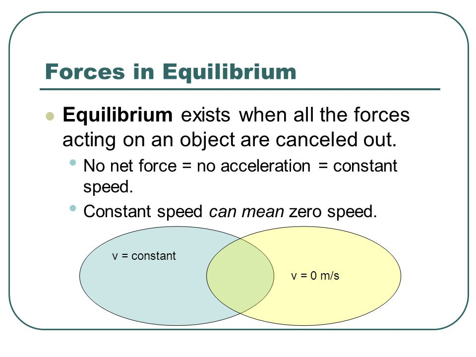 Equilibrium exists when all the forces acting on an object are canceled out.