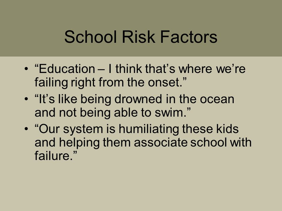 School Risk Factors Education – I think that's where we're failing right from the onset. It's like being drowned in the ocean and not being able to swim. Our system is humiliating these kids and helping them associate school with failure.