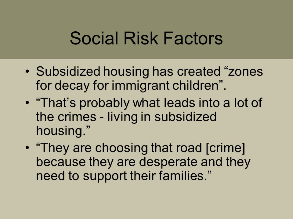 Social Risk Factors Subsidized housing has created zones for decay for immigrant children .