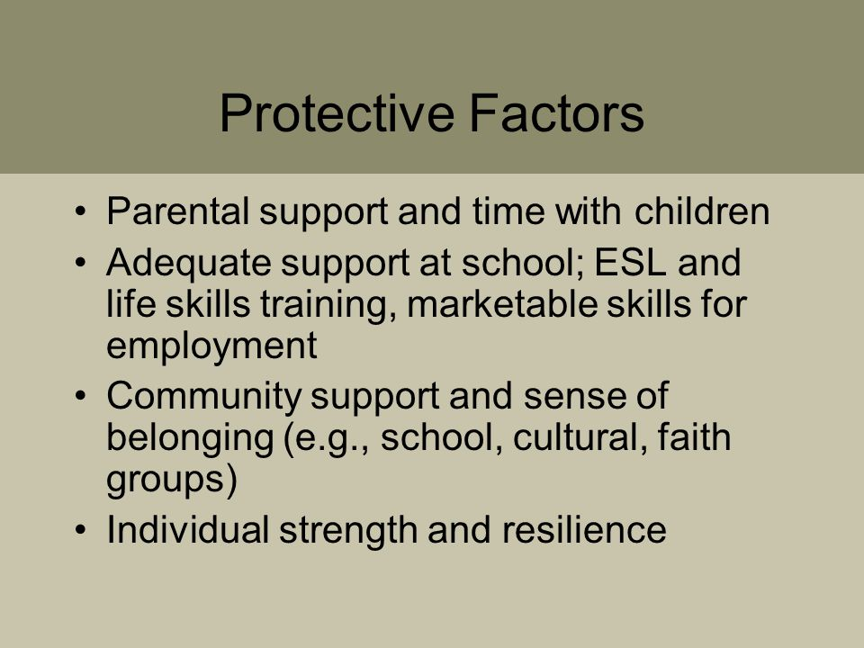 Protective Factors Parental support and time with children Adequate support at school; ESL and life skills training, marketable skills for employment Community support and sense of belonging (e.g., school, cultural, faith groups) Individual strength and resilience