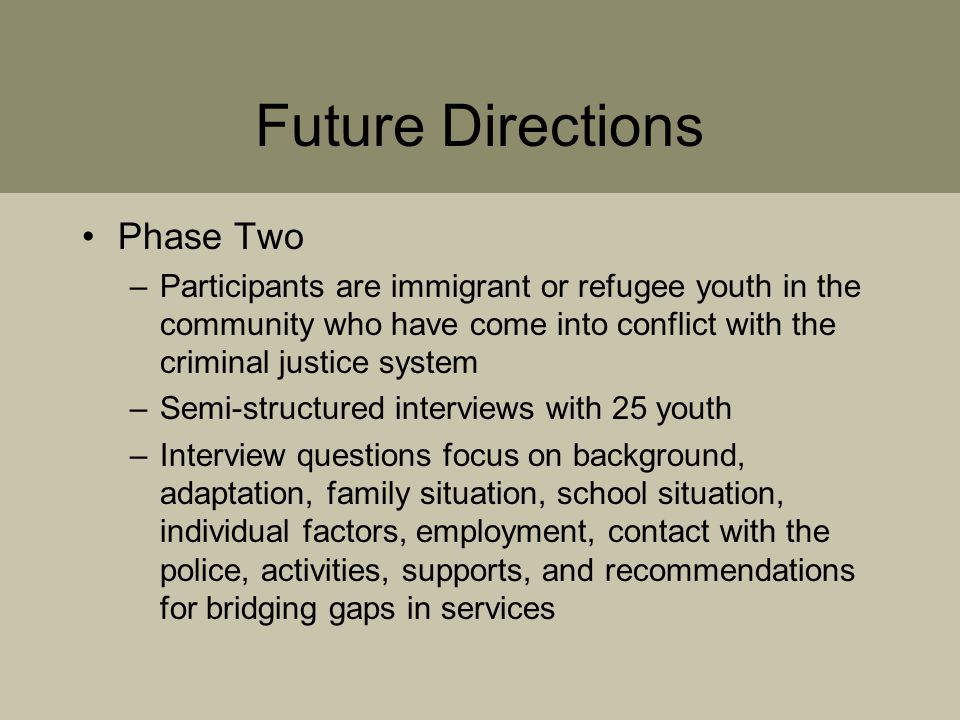 Future Directions Phase Two –Participants are immigrant or refugee youth in the community who have come into conflict with the criminal justice system –Semi-structured interviews with 25 youth –Interview questions focus on background, adaptation, family situation, school situation, individual factors, employment, contact with the police, activities, supports, and recommendations for bridging gaps in services