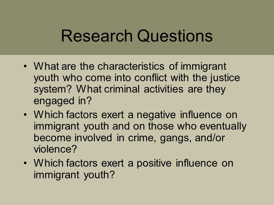 Research Questions What are the characteristics of immigrant youth who come into conflict with the justice system.