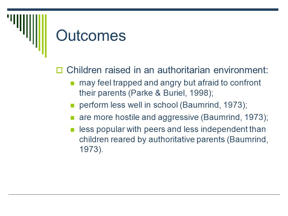 Outcomes  Children raised in an authoritarian environment: may feel trapped and angry but afraid to confront their parents (Parke & Buriel, 1998); pe