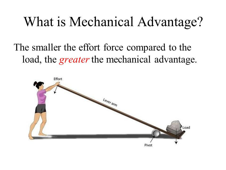 The smaller the effort force compared to the load, the greater the mechanical advantage.