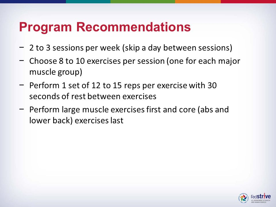 Program Recommendations −2 to 3 sessions per week (skip a day between sessions) −Choose 8 to 10 exercises per session (one for each major muscle group) −Perform 1 set of 12 to 15 reps per exercise with 30 seconds of rest between exercises −Perform large muscle exercises first and core (abs and lower back) exercises last