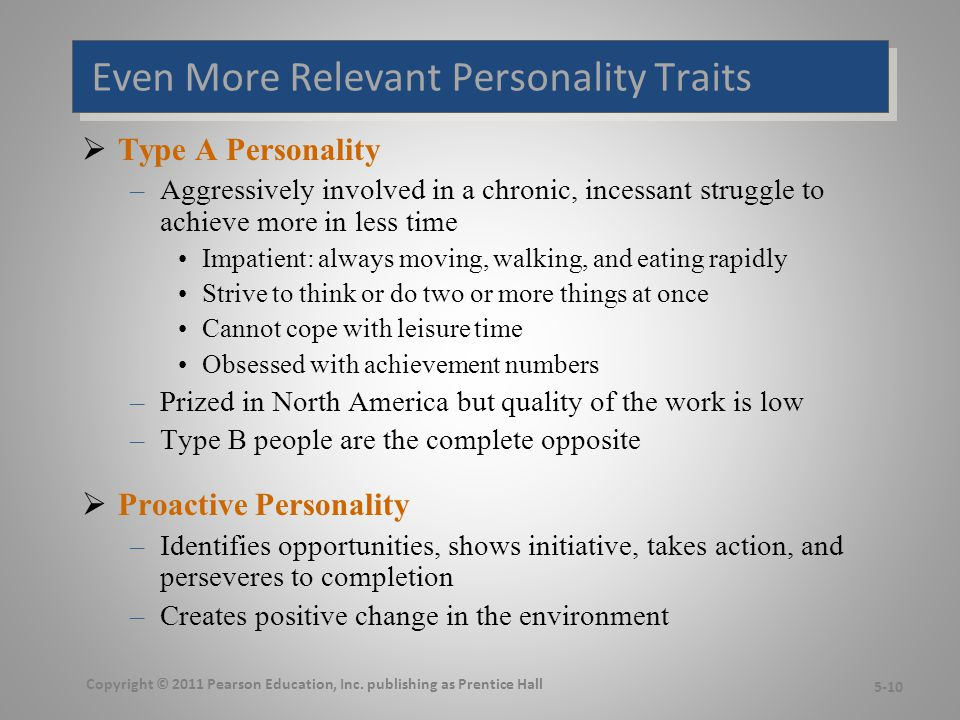 Relationships Among Personality Types Copyright © 2011 Pearson Education, Inc.