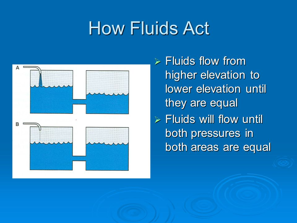 How Fluids Act  Fluids flow from higher elevation to lower elevation until they are equal  Fluids will flow until both pressures in both areas are equal