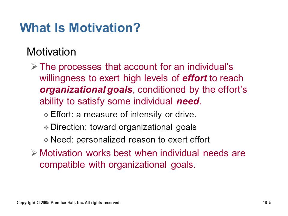 Copyright © 2005 Prentice Hall, Inc. All rights reserved.16–5 What Is Motivation.