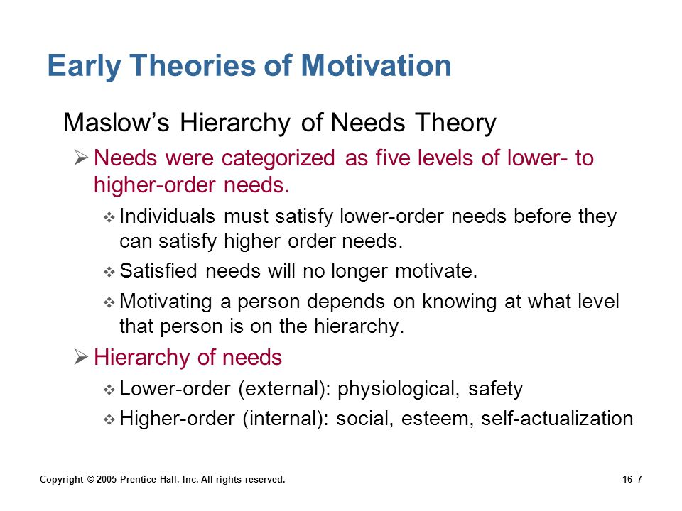 Copyright © 2005 Prentice Hall, Inc. All rights reserved.16–7 Early Theories of Motivation Maslow's Hierarchy of Needs Theory  Needs were categorized