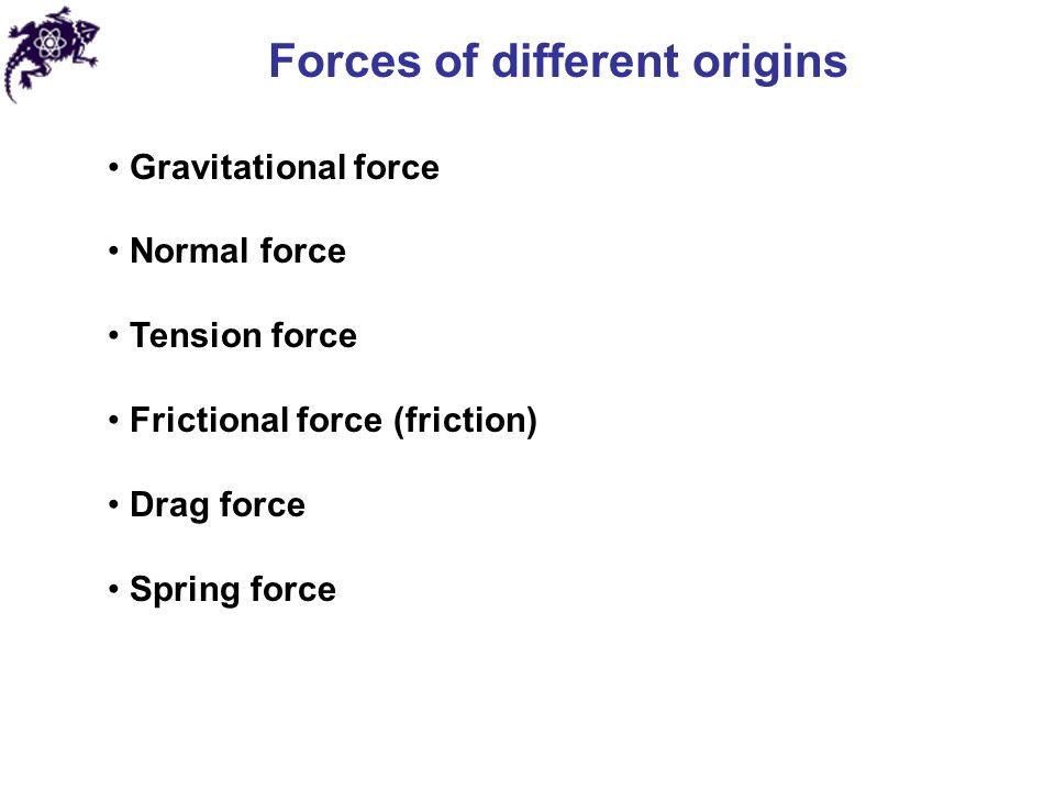 Forces of different origins Gravitational force Normal force Tension force Frictional force (friction) Drag force Spring force