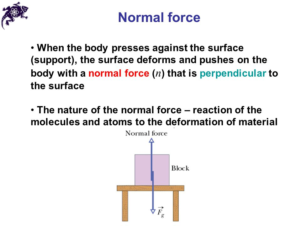 Normal force When the body presses against the surface (support), the surface deforms and pushes on the body with a normal force ( n ) that is perpendicular to the surface The nature of the normal force – reaction of the molecules and atoms to the deformation of material