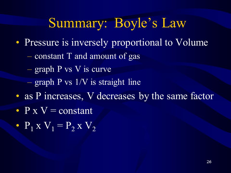 26 Summary: Boyle's Law Pressure is inversely proportional to Volume –constant T and amount of gas –graph P vs V is curve –graph P vs 1/V is straight line as P increases, V decreases by the same factor P x V = constant P 1 x V 1 = P 2 x V 2