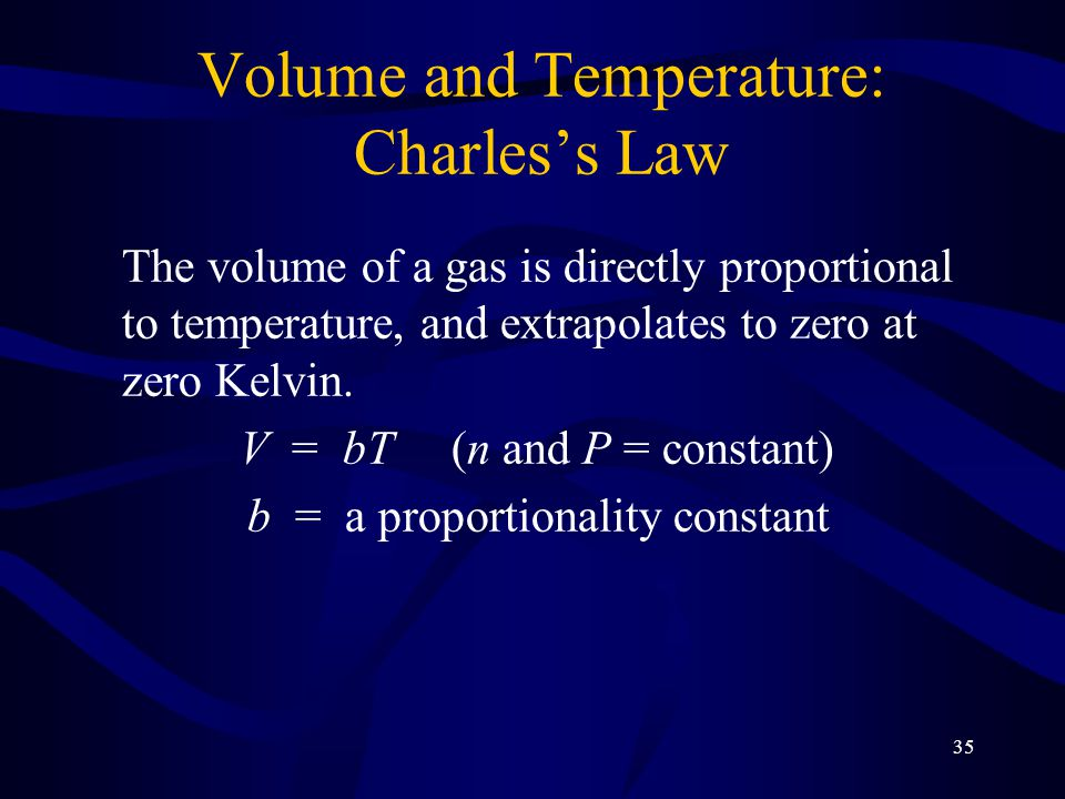 35 Volume and Temperature: Charles's Law The volume of a gas is directly proportional to temperature, and extrapolates to zero at zero Kelvin.