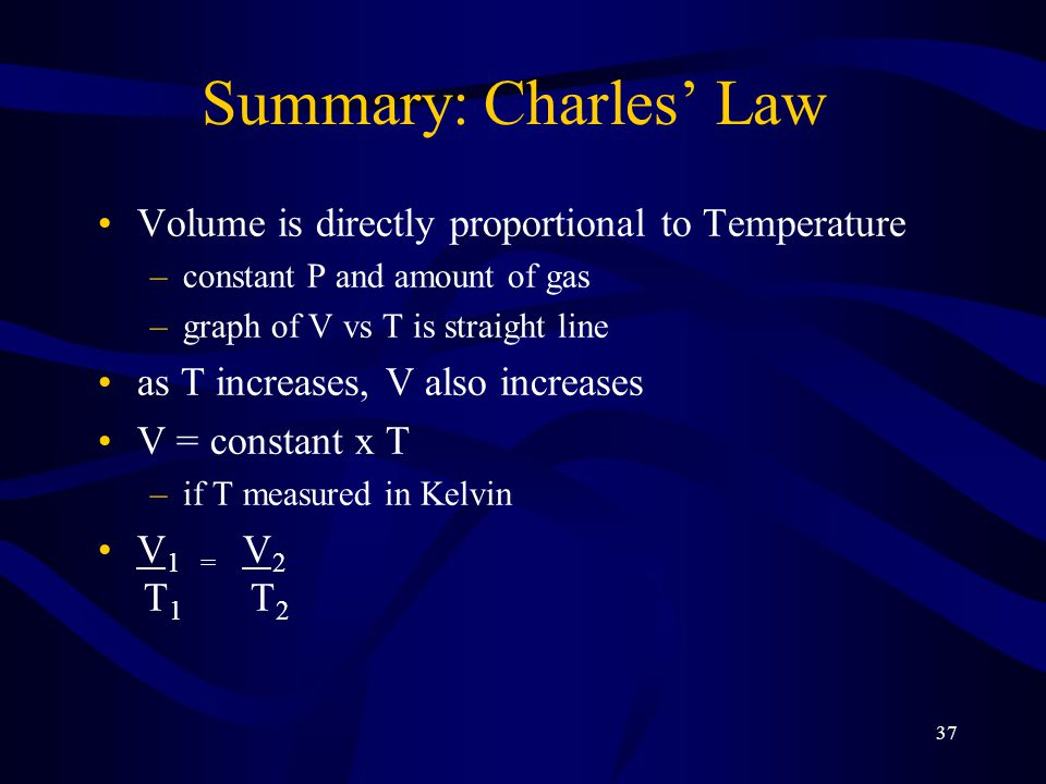 37 Summary: Charles' Law Volume is directly proportional to Temperature –constant P and amount of gas –graph of V vs T is straight line as T increases, V also increases V = constant x T –if T measured in Kelvin V 1 = V 2 T 1 T 2