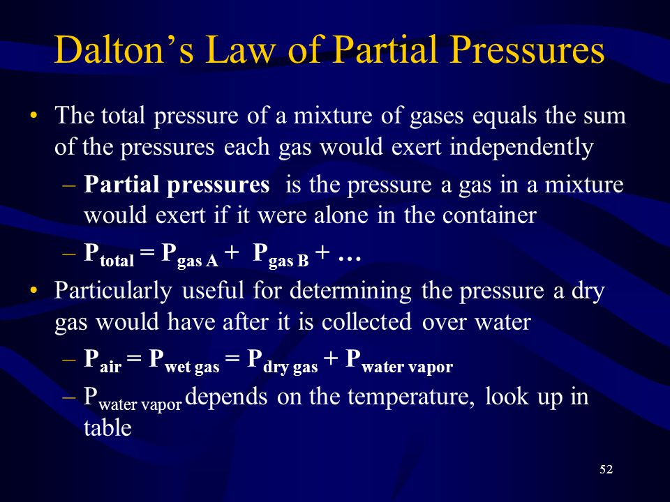 52 Dalton's Law of Partial Pressures The total pressure of a mixture of gases equals the sum of the pressures each gas would exert independently –Partial pressures is the pressure a gas in a mixture would exert if it were alone in the container –P total = P gas A + P gas B + … Particularly useful for determining the pressure a dry gas would have after it is collected over water –P air = P wet gas = P dry gas + P water vapor –P water vapor depends on the temperature, look up in table