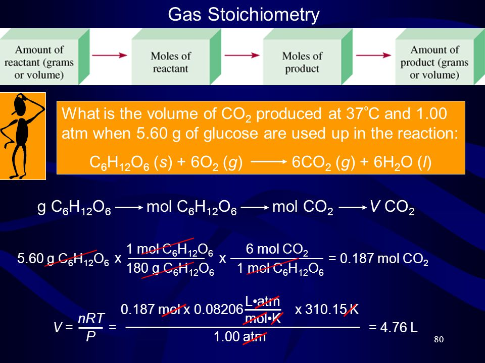 80 Gas Stoichiometry What is the volume of CO 2 produced at 37 º C and 1.00 atm when 5.60 g of glucose are used up in the reaction: C 6 H 12 O 6 (s) + 6O 2 (g) 6CO 2 (g) + 6H 2 O (l) g C 6 H 12 O 6 mol C 6 H 12 O 6 mol CO 2 V CO 2 5.60 g C 6 H 12 O 6 1 mol C 6 H 12 O 6 180 g C 6 H 12 O 6 x 6 mol CO 2 1 mol C 6 H 12 O 6 x = 0.187 mol CO 2 V = nRT P 0.187 mol x 0.08206 x 310.15 K Latm molK 1.00 atm = = 4.76 L