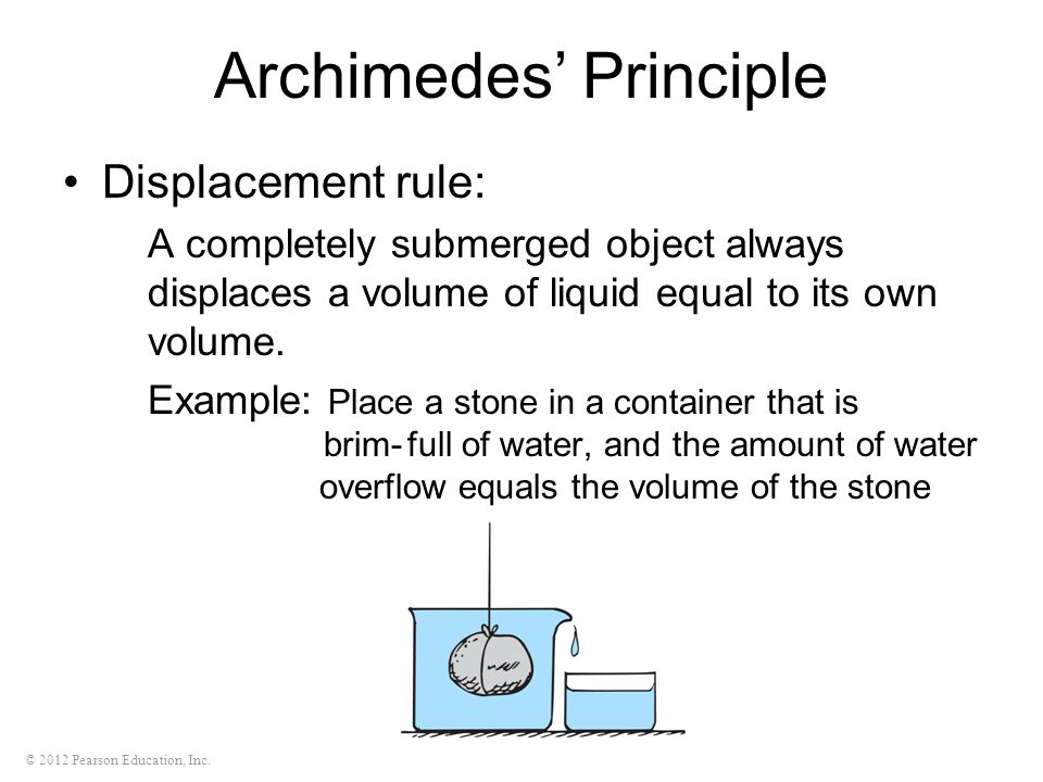 © 2012 Pearson Education, Inc. Archimedes' Principle Displacement rule: A completely submerged object always displaces a volume of liquid equal to its