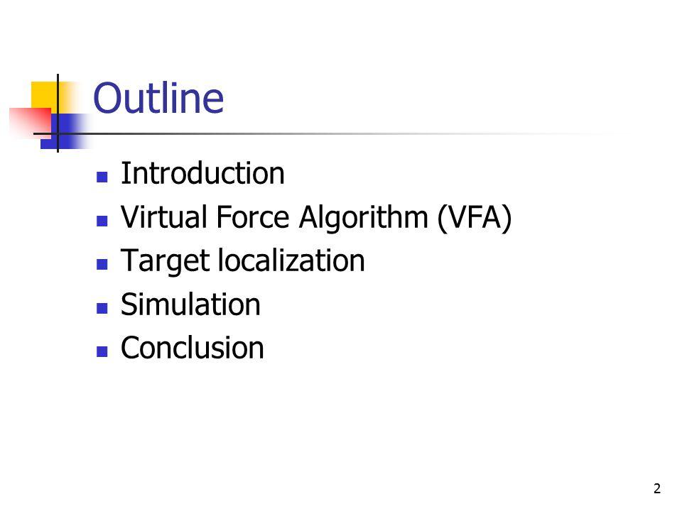 2 Outline Introduction Virtual Force Algorithm (VFA) Target localization Simulation Conclusion