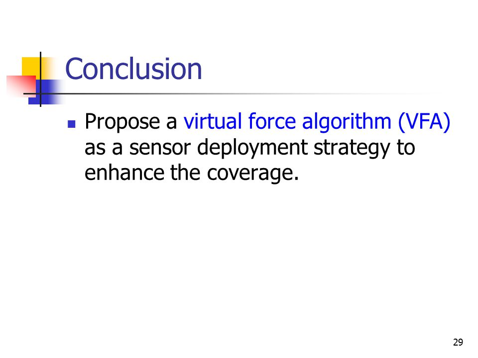 29 Conclusion Propose a virtual force algorithm (VFA) as a sensor deployment strategy to enhance the coverage.