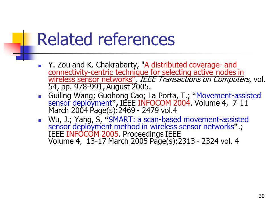 30 Related references Y. Zou and K.