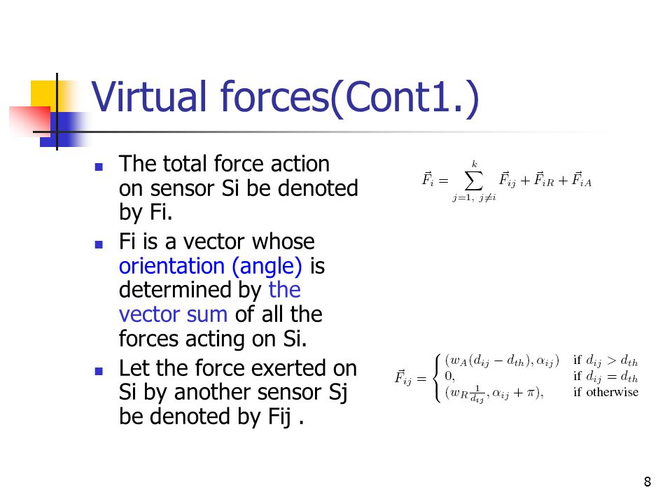 8 Virtual forces(Cont1.) The total force action on sensor Si be denoted by Fi.