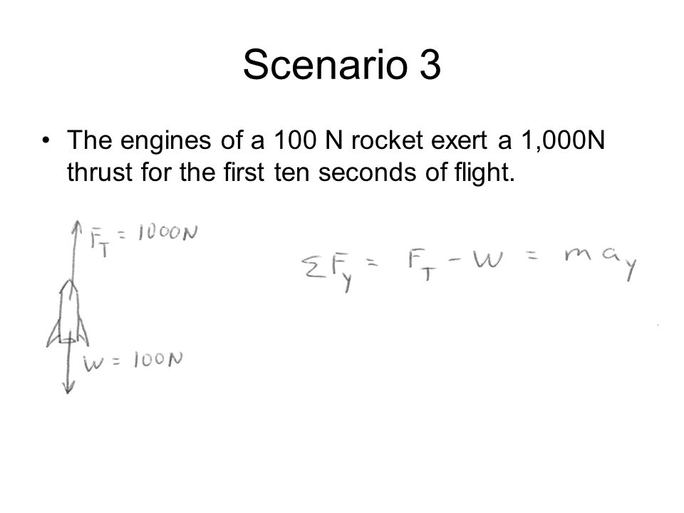 Scenario 3 The engines of a 100 N rocket exert a 1,000N thrust for the first ten seconds of flight.