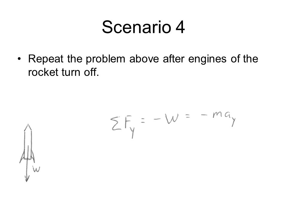 Scenario 4 Repeat the problem above after engines of the rocket turn off.